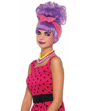 Peluca Pop Art morada con moño para mujer