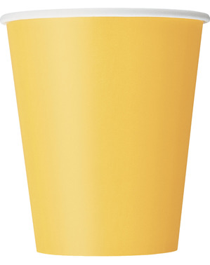 8 gobelets jaune tournesol - Gamme couleur unie