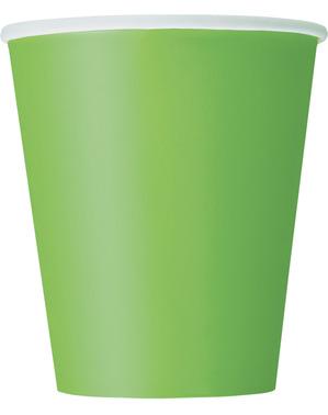 8 Lime Green Cups - Línea Colores Básicos