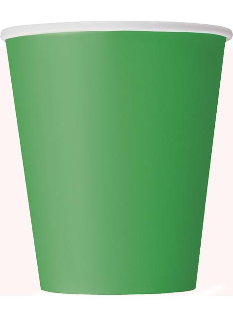 8 vasos verde esmeralda - Línea Colores Básicos