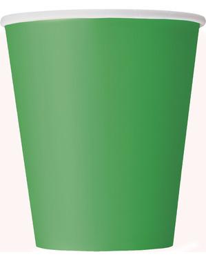 8 gobelets vert émeraude - Gamme couleur unie