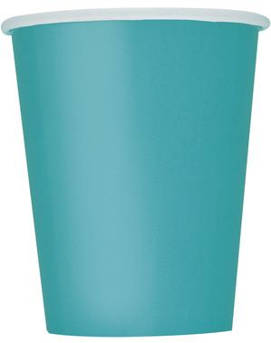 8 Aquamarine Blue Cups - Basic Colours Line