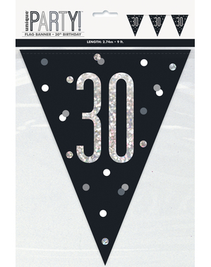"Black ""30"" Bunting - Black & Silver Glitz"