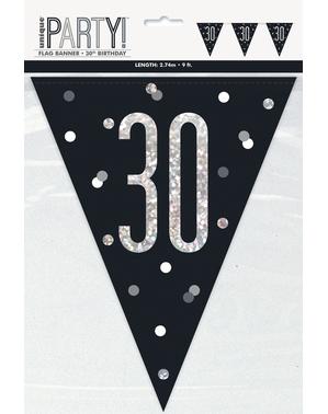 """Černá vlajkosláva """"30"""" - Black & Silver Glitz"""