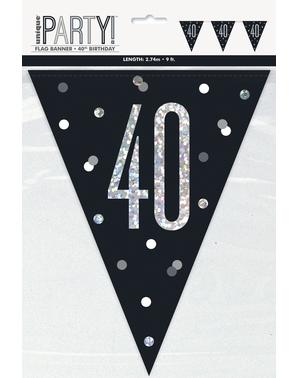 "Black ""40"" Bunting - Black & Silver Glitz"
