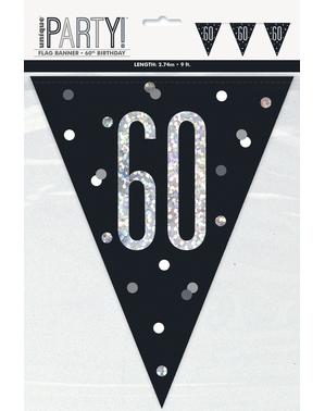 "Black ""60"" Bunting - Black & Silver Glitz"