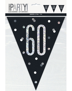 "Musta ""60"" Lippukoriste - Black & Silver Glitz"