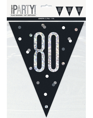 "Black ""80"" Bunting - Black & Silver Glitz"