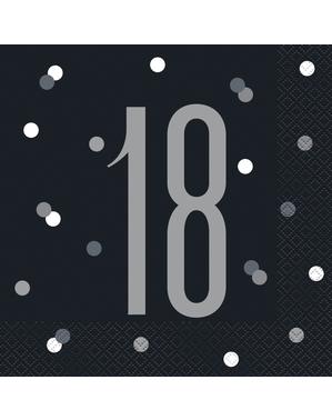 """16 Black """"18"""" Napkins - Black & Silver Glitz"""