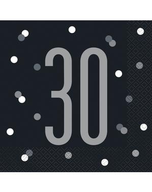 "16 Black ""30"" Napkins (33x33 cm) - Black & Silver Glitz"