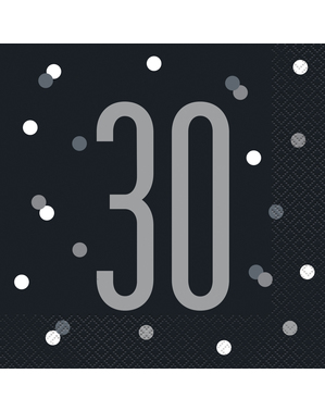 "16 Mustaa ""30"" Lautasliinaa (33x33 cm) - Black & Silver Glitz"