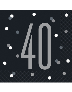 "16 Black ""40"" Napkins (33x33 cm) - Black & Silver Glitz"