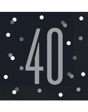 "16 Mustaa ""40"" Lautasliinaa (33x33 cm) - Black & Silver Glitz"