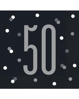 "16 Black ""50"" Napkins (33x33 cm) - Black & Silver Glitz"