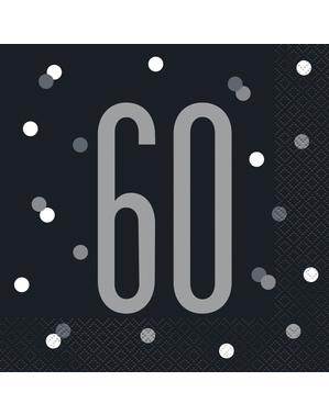 "16 Black ""60"" Napkins (33x33 cm) - Black & Silver Glitz"