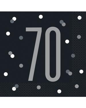 "16 Black ""70"" Napkins (33x33 cm) - Black & Silver Glitz"