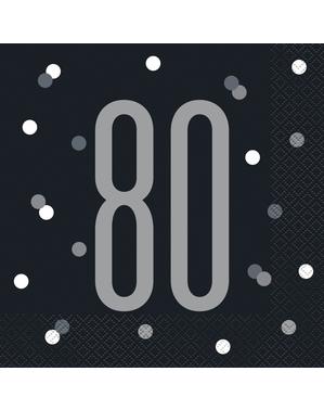 "16 Black ""80"" Napkins (33x33 cm) - Black & Silver Glitz"