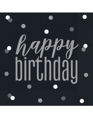 "16 Mustaa ""Happy Birthday"" -Lautasliinaa (33x33 cm) - Black & Silver Glitz"