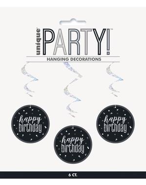 """6 x """"Happy Birthday"""" Hanging Spirals - Black & Silver Glitz"""