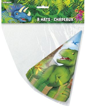 8 cappellini per compleanno con dinosauri - Dinosaur
