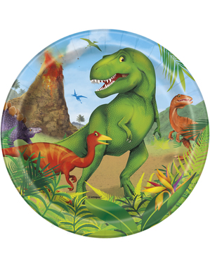 8 Small Dinosaur Plates (18 cm) - Dinosaur