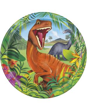 8 dinosaur tallerkner (23 cm) - Dinosaur