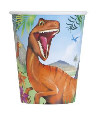 8 vasos de dinosaurios de papel - Dinosaur