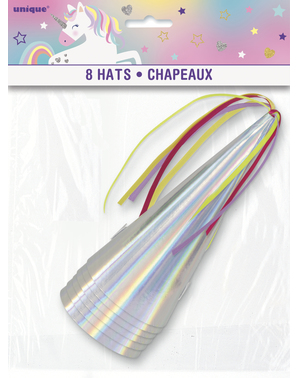 8 Iridescent Party Hats - Unicorn