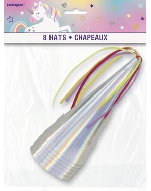 8 Iridescent Party Hats - Unicorn