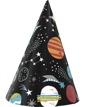 8 Space Themed Party Hats - Outer Space