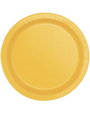 8 assiettes jaune tournesol (23 cm) - Gamme couleur unie