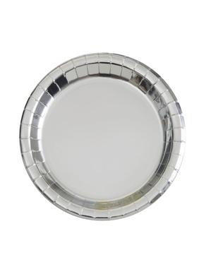 8 Små Sølv Tallerkener (18cm) - Línea Colores Básicos