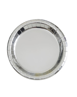 8 små sølv tallerkner (18 cm) - Basale Farver Linje