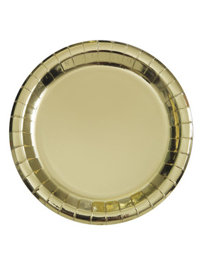 8 petites assiettes carrées dorées (18cm) - Gamme couleur unie