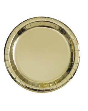 8 små firkantede tallerkener gull (18 cm) - Basic Colors Line
