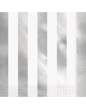 16 servetter silverfärgade randiga (33x33 cm)