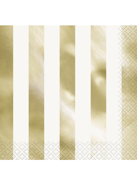16 servilletas doradas a rayas (33x33 cm)