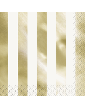 16 Stribede Guldservietter (33x33 cm) - Basale Farver Linje