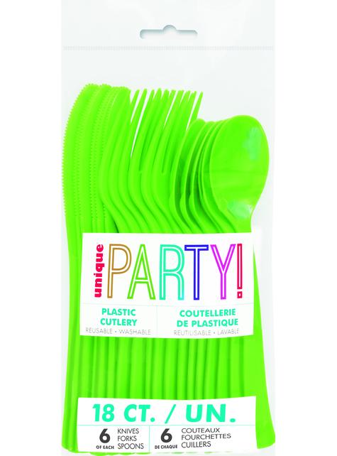 18 cubiertos verde lima de plástico - Línea Colores Básicos
