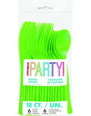 18pc Lime Green Plastic Cutlery Set - Línea Colores Básicos