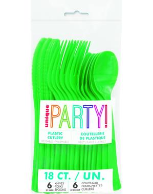 18 cubiertos verde esmeralda de plástico - Línea Colores Básicos