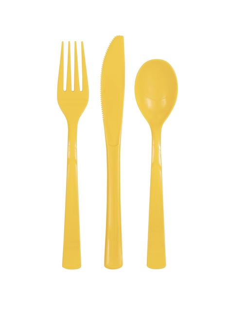 18 cubiertos amarillo girasol de plástico - Línea Colores Básicos