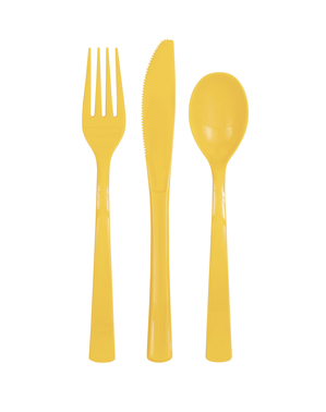 18 tacâmuri din plastic galben de floarea-soarelui - Gama Basic Colors