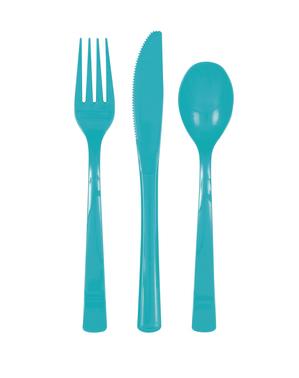 18 couverts bleu turquoise en plastique - Gamme couleur uni