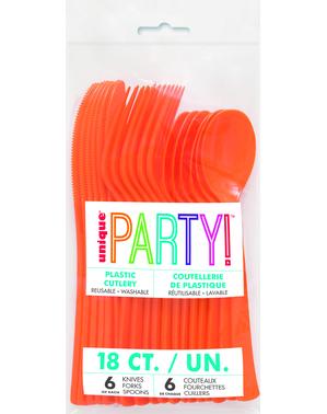 18pc Orange Plastic Cutlery Set - Línea Colores Básicos