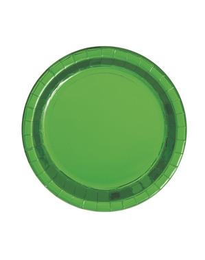 8 Small Metallic Green Plates (18 cm) - Línea Colores Básicos
