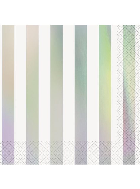 16 servilletas iridiscentes a rayas (33x33 cm)