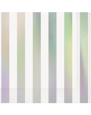 16 Iridescent Striped Napkins (33x33 cm)