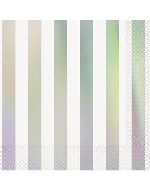 16 serviettes iridescentes à rayures (33x33 cm)