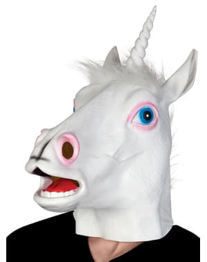 Hvid enhjørningmaske til voksne